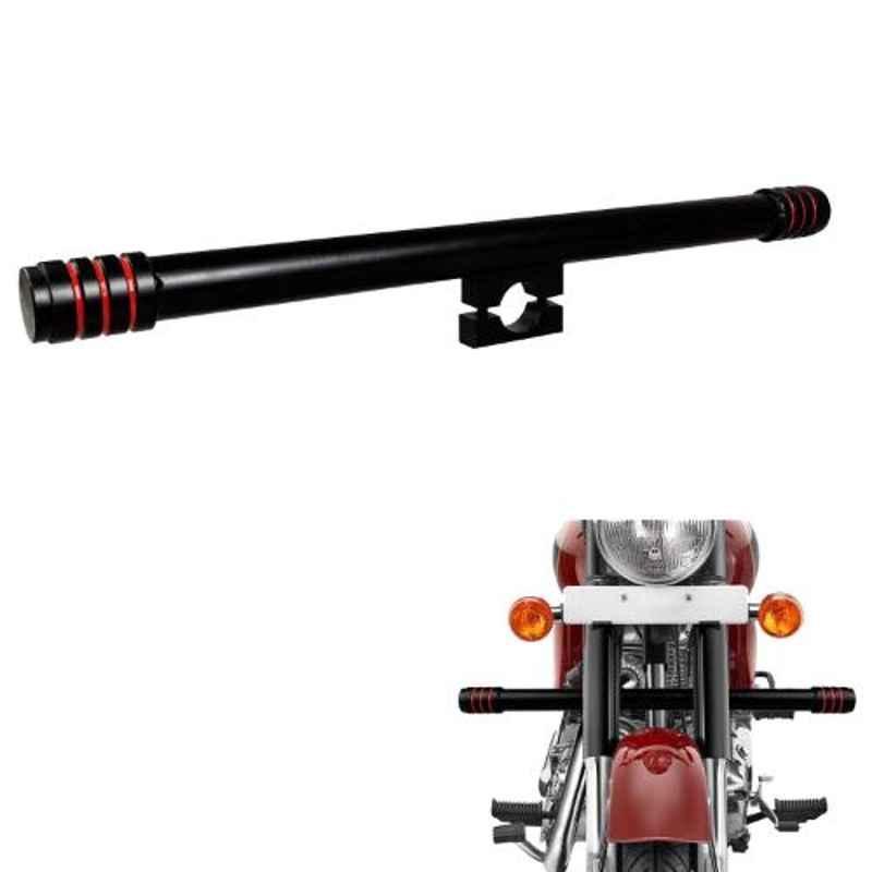 AllExtreme EXSRLB1 Black & Red Single Rod Leg Guard Crash Safety Bar