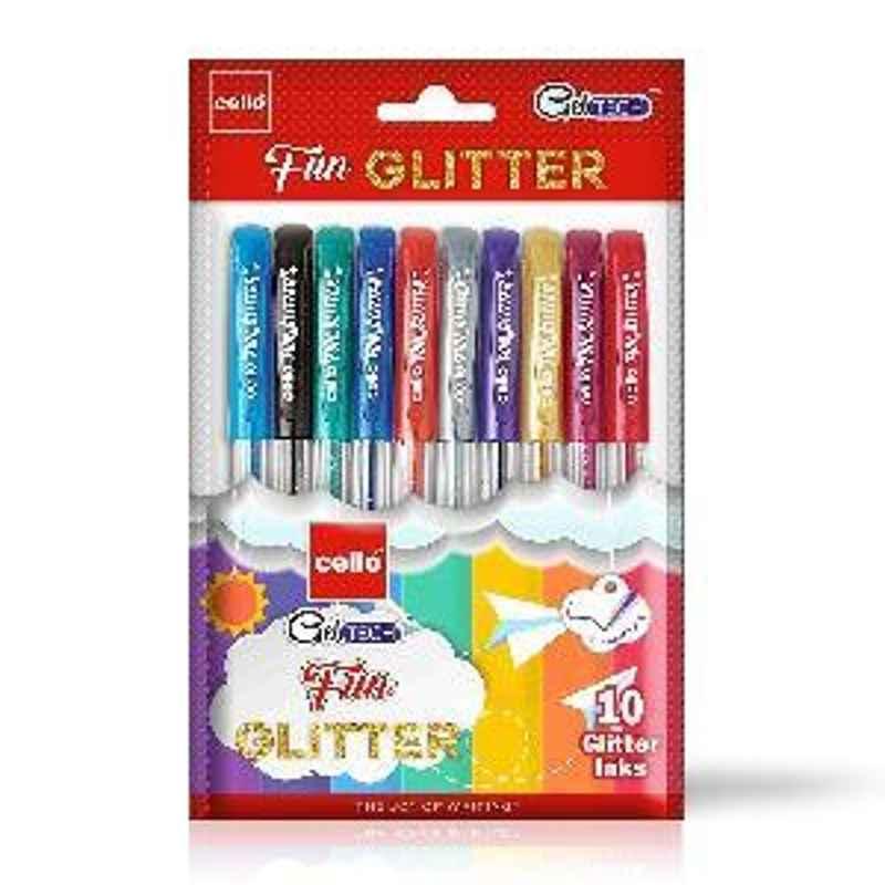 Cello Geltech Fun Glitter Gel Pen Pack of 10 Multicolor