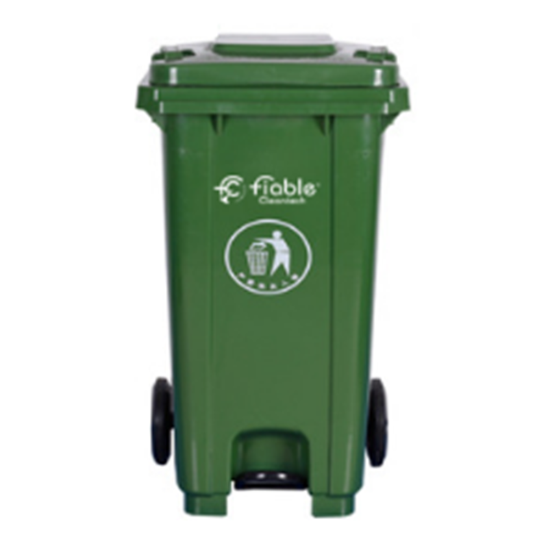 Fiable 120L HDPE Green Center Pedal Dustbin with Lid & 2 Wheels, FDB 120 CP