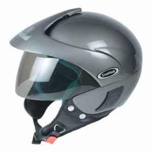 Stallion BLK Triomax Open Face Grey Motorbike Helmet, Size: M