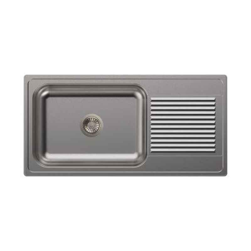 Carysil Vogue Single Bowl Stainless Steel Matt Finish Kitchen Sink with Drainer, Size: 40x20x8 inch