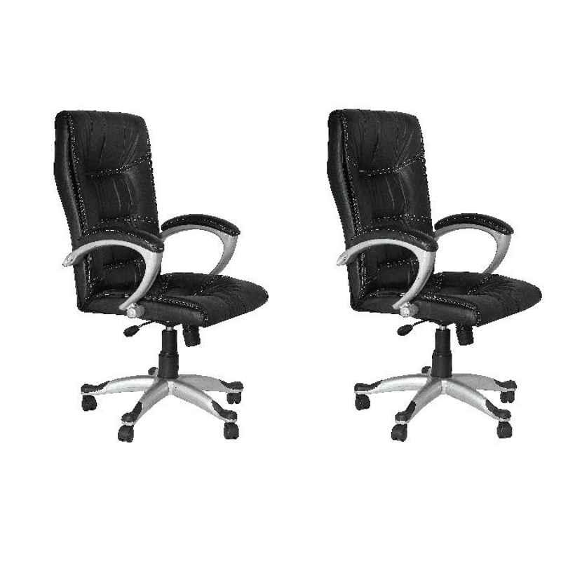 High Living Exclusive Black Leatherette High Back Office Chair (Pack of 2)