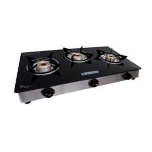Milton Premium 3 Burner Black Glass LPG Stove