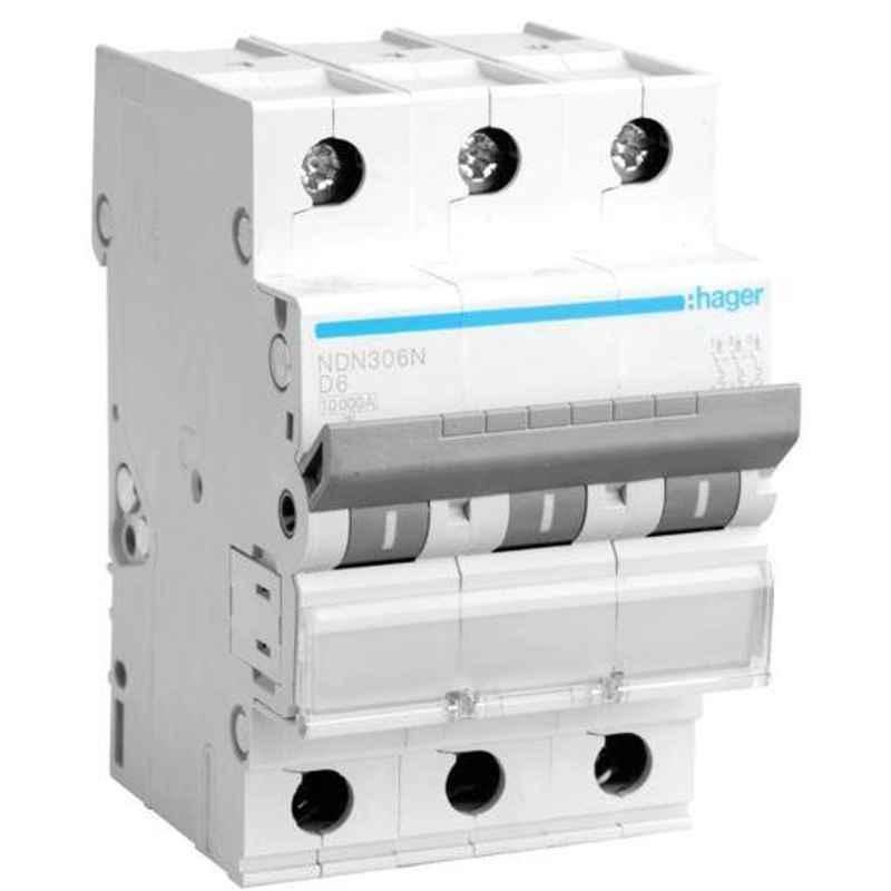 Hager 63A Three Pole D Curve h3 MCB, NDN363N, Breaking Capacity: 10 kA (Pack of 4)