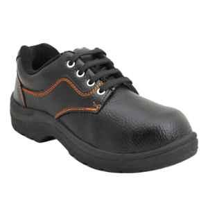 Indcare Fighter Leather Steel Toe Black Safety Shoes, Size: 9