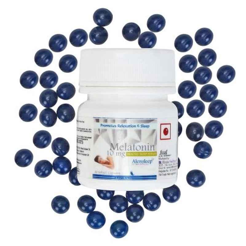Alvizia 30 Pcs Softgel Capsule 10mg Alensleep Melatonin Healthy Sleeping Bottle