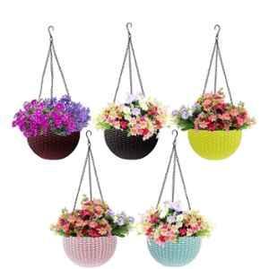 Multispace 5 Pcs Multicolour Plastic Hanging Pot & Planters Set
