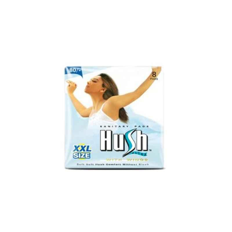 Hush Ultra Thin 8 Pcs 320mm Straight Sanitary Napkins with Wings, HUT-6-7 (Pack of 6)