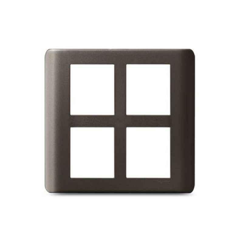 Schneider Zencelo 8 Module Square Dark Grey Grid & Cover Frame, IN8408SC(BZ) (Pack of 5)