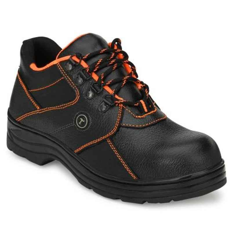 Timberwood TW61BK Leather Steel Toe Black Safety Shoe, Size: 7