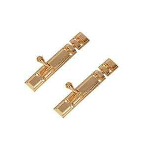Smart Shophar 4 inch Brass Gold Royal Tower Bolt, SHA10TW-ROYA-GL04-P2 (Pack of 2)