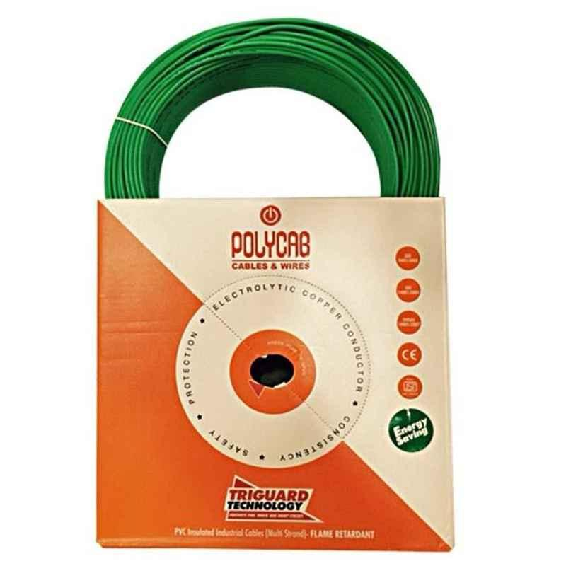 Polycab 6 Sqmm 45m Green Single Core FRLF Multistrand PVC Insulated Unsheathed Industrial Cable