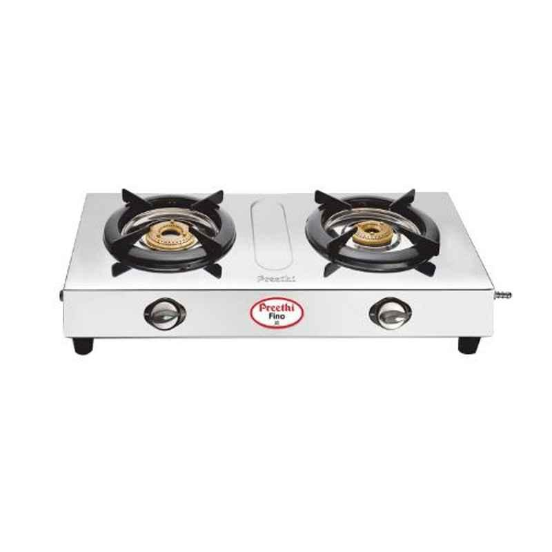 Preethi Fino Silver Stainless Steel with 2 Burners Gas Stove, SSGS002