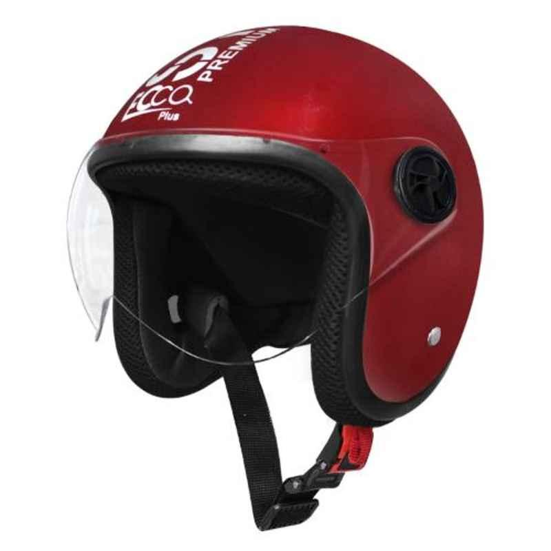 Habsolite EPM01 Ecco Plus Maroon Open Face Helmet with Retractable Visor & Adjustable Strap, Size: M
