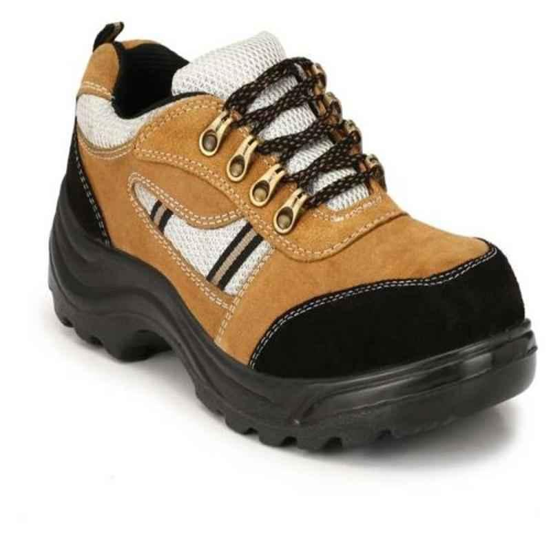Wonker 6357 Synthetic Leather Steel Toe Beige Safety Shoes, Size: 8