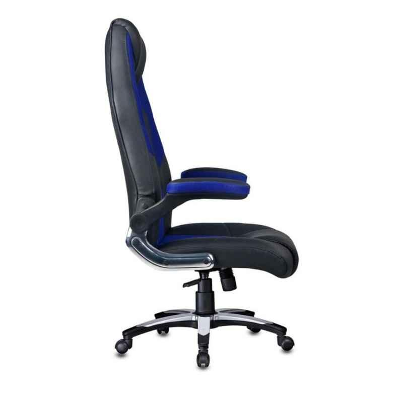 Caddy 27.5x17x46 inch Black Leather Gaming Ergonomic Chair with Headrest, MISG9