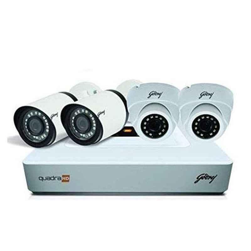Godrej SeeThru 4 Channel Full HD White CCTV Camera Kit with 1TB Hard Disk, 4MP4CH2D2B1TBHD