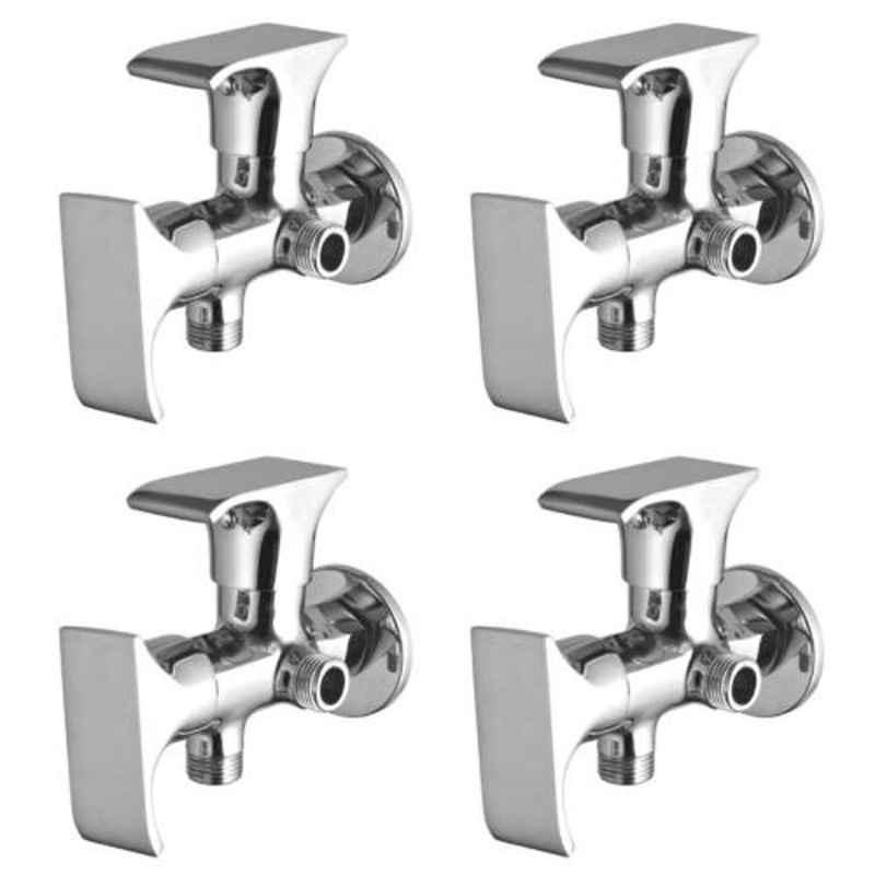 Drizzle Swift 4 Pcs 2 in 1 Brass Chrome Finish Silver Angle Valve Set, AAC2IN1SWIFT4
