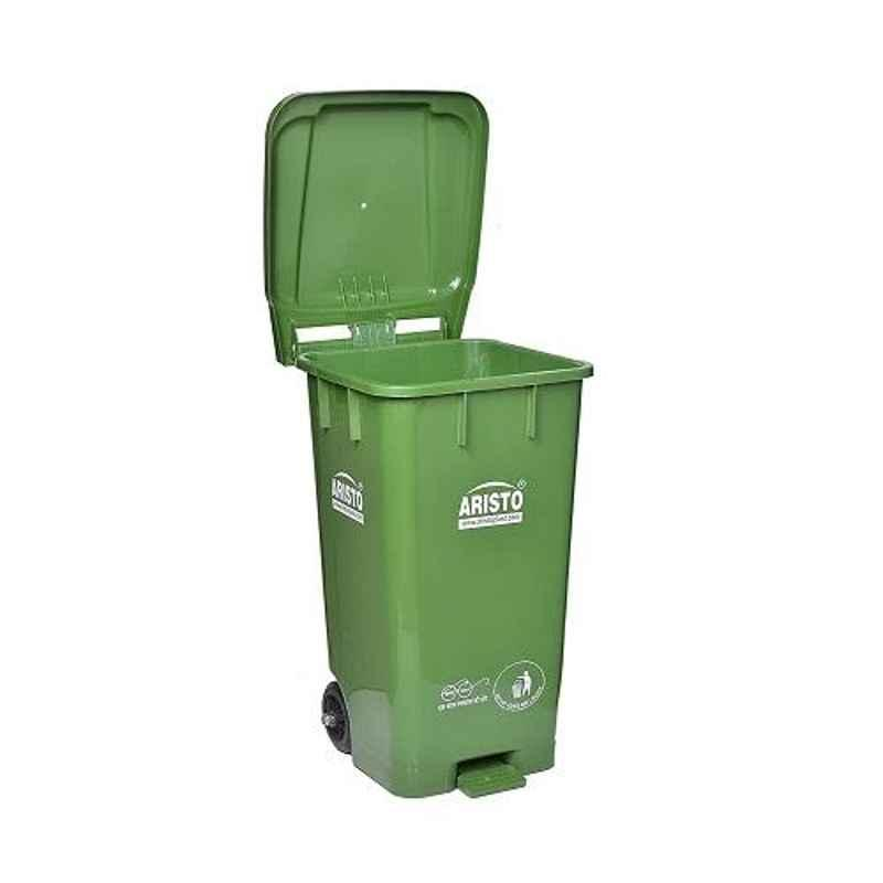 Aristo 65L 456x405x720mm HDPE Green Center Foot Pedal Dustbin with 2 Wheels (Pack of 2)