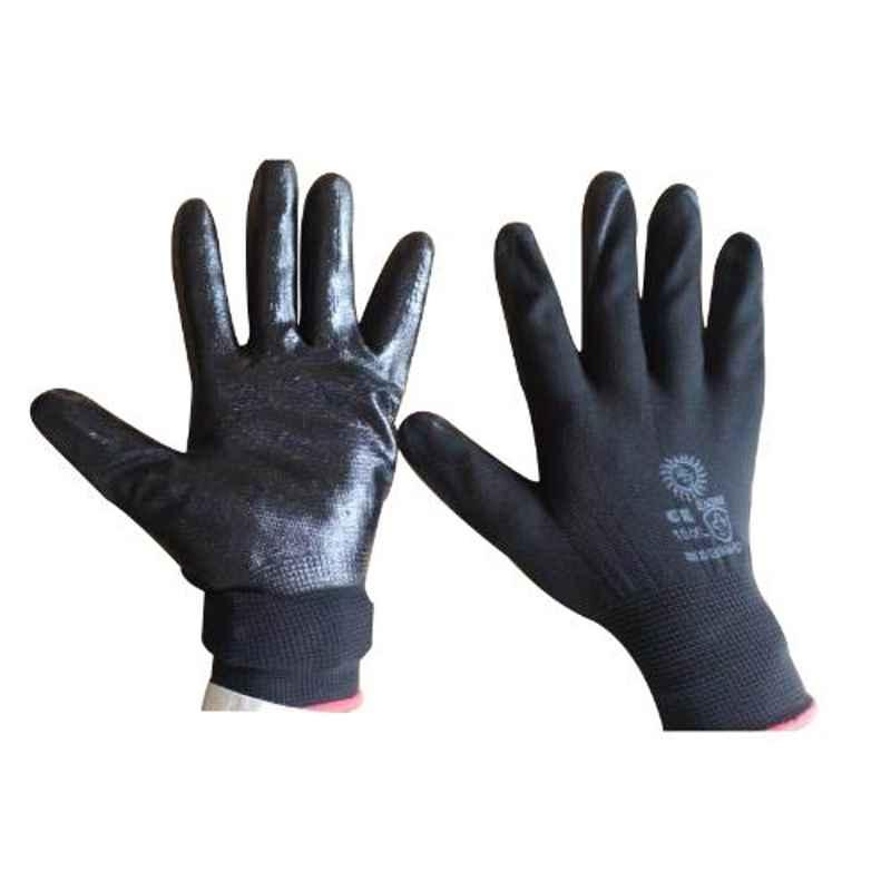 Siddhivinayak 12 inch Black PVC Coated Anticut Safety Gloves (Pack of 60)