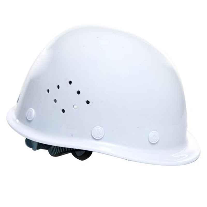 Darit White ABS Ratchet Textile Safety Helmet with Foam Sweatband, ES-236
