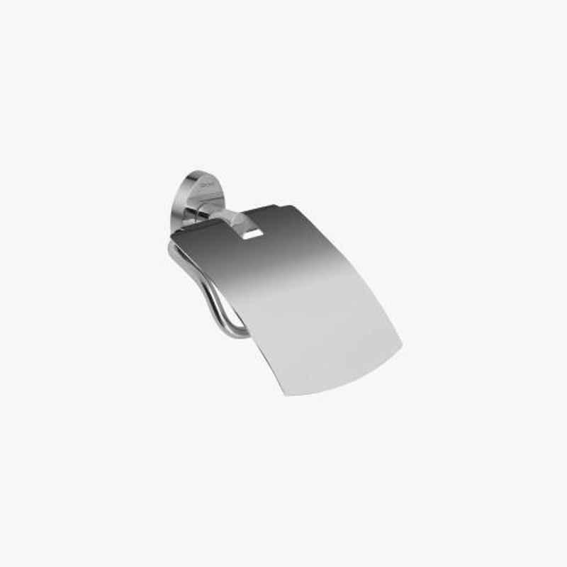 Kerovit Silver Stainless Steel Chrome Finish Oval Range Toilet Paper Holder with Flap, KA980009