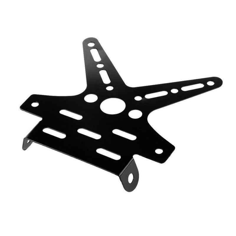 RA Accessories motorcycle number license plate adjustable aluminum alloy holder mount bracket - black