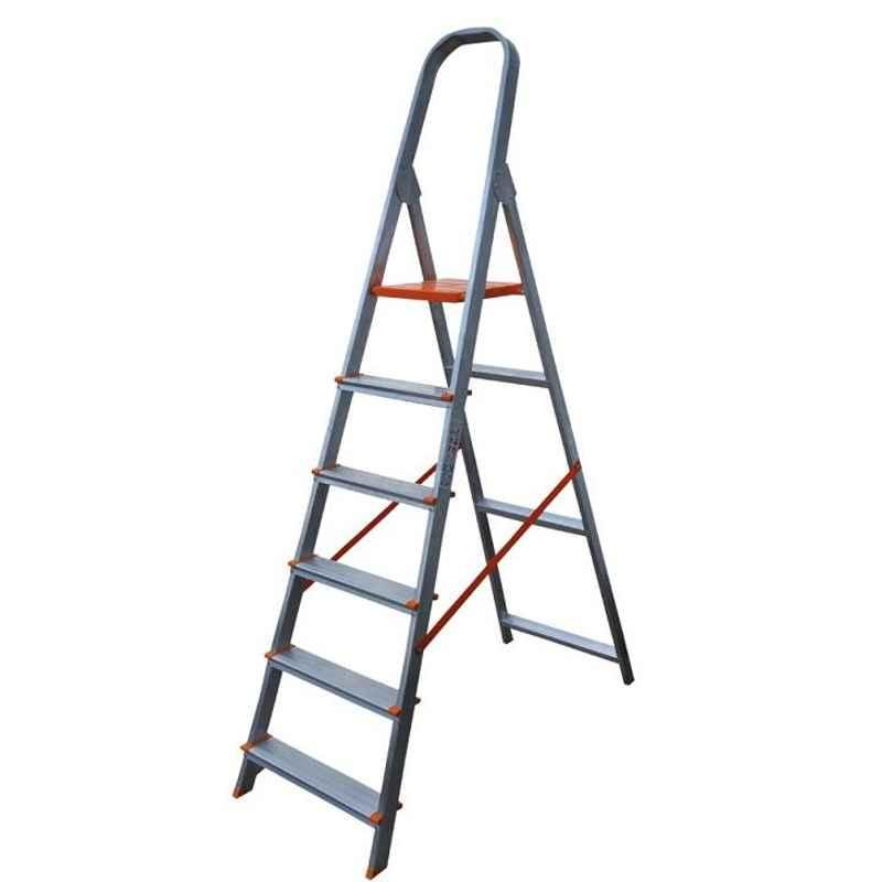 Aguerri Eco 6 Step Orange Silver Coated Aluminium Foldable Ladder with Platform, 4042