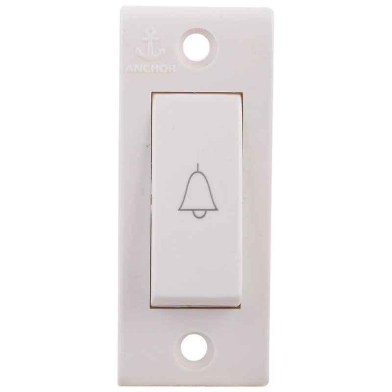 Anchor Penta Deluxe 6A Bell Push White Switch, 14113, (Pack of 30)