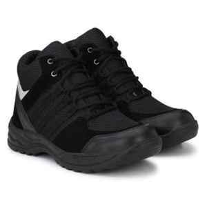 Wonker SR-6402 Leather Steel Toe Black Safety Shoes, Size: 8