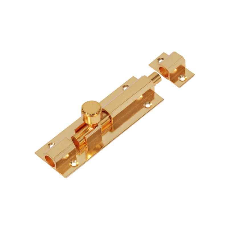 Smart Shophar 4 inch Brass Gold Hex Tower Bolt, SHA10TW-HEX-GL04-P1