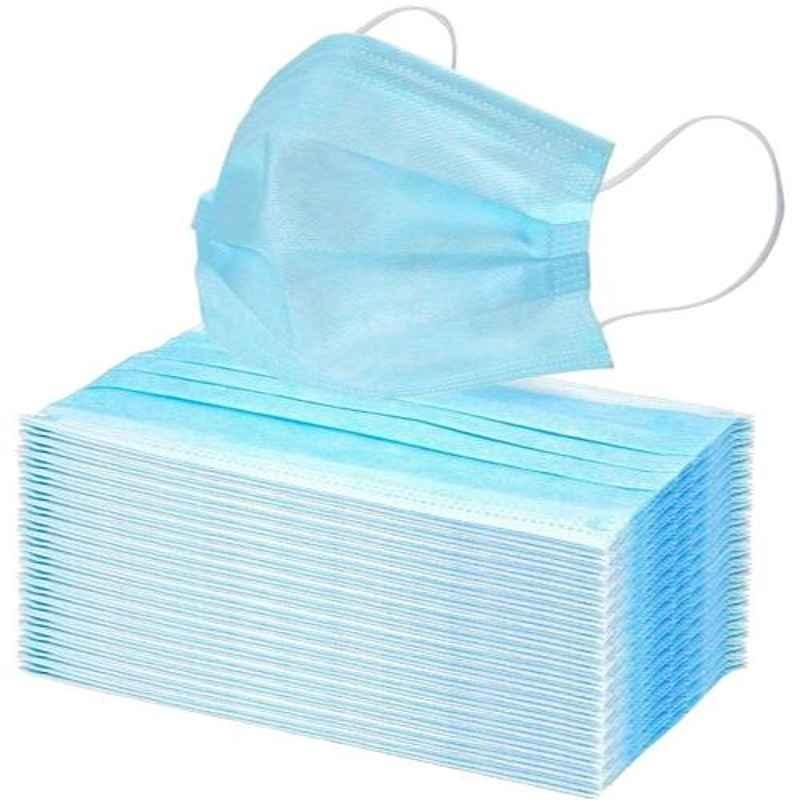 SSRE 3 Ply Non-Woven Blue Disposable Face Mask Without Nose Stick (Pack of 50)