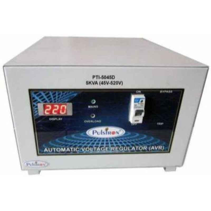 Pulstron PTI-5045D 5kVA 45-520V Double Phase Grey Automatic Voltage Stabilizer for Mainline