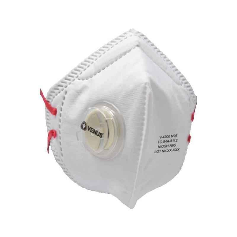 Venus V4200 White Niosh N95 Flat Fold C Style Respiratory Mask (Pack of 3)