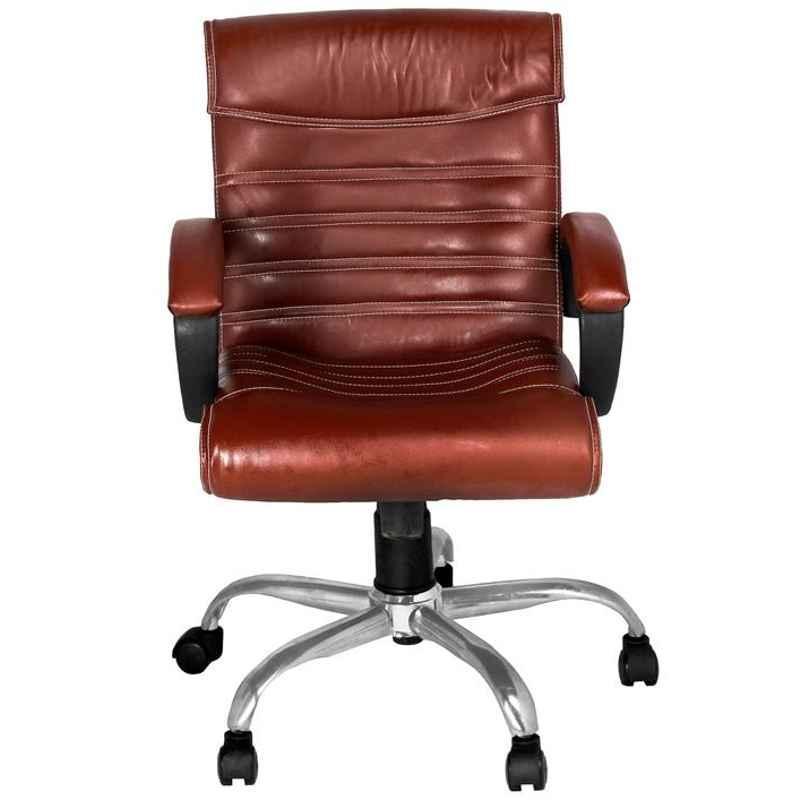 High Living Mars Leatherette Medium Back Brown Office Chair