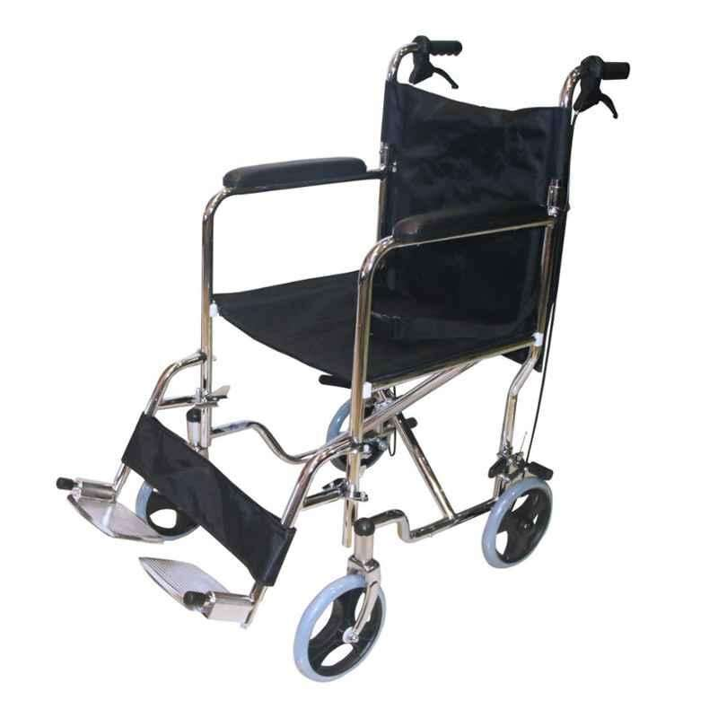 Easycare Portable Aluminum Wheelchair With Lightweight Transport Chair With Locking Hand Brakes, Weighing Capacity: 100 kg, EC976AJ43