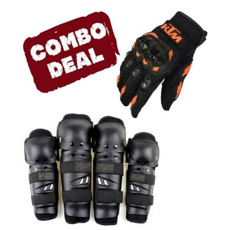 Love4ride Ktm Bike Gloves & Fox Elbow Knee Guard Combo for Biker