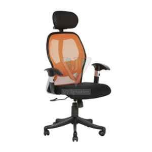 VJ Interior Orange & Black Gromalla Hb Executive Mesh Fabric Chair, VJ-559