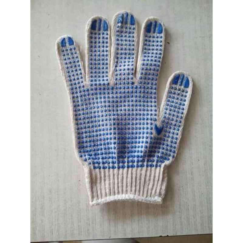 Siddhivinayak White Cotton Dotted Hand Gloves (Pack of 60)