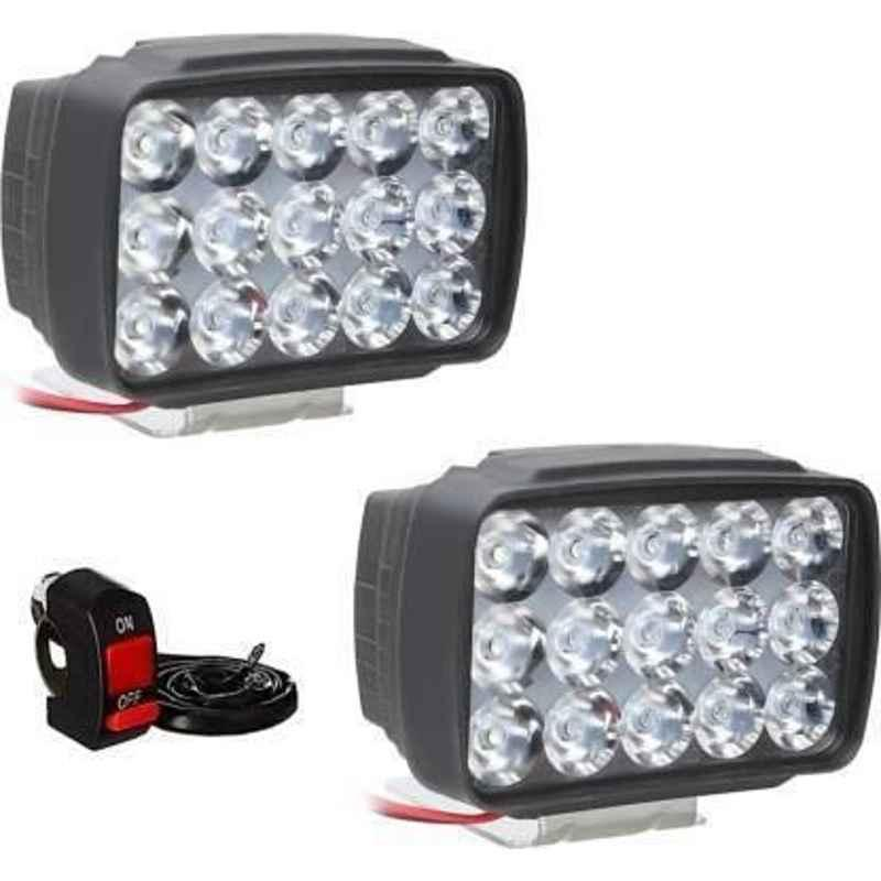 JBRIDERZ Bike 15 Led 15W Fog Lamp 2 Pcs Set With Switch For Hero Passion Xpro New