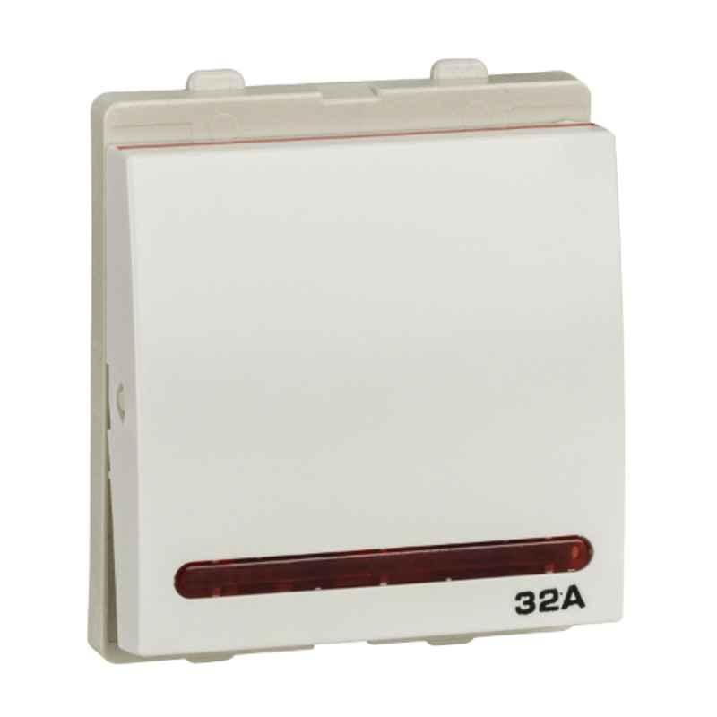 Schneider Opale 32A 2 Module White DP Switch with Indicator, AAKX1232 (Pack of 10)