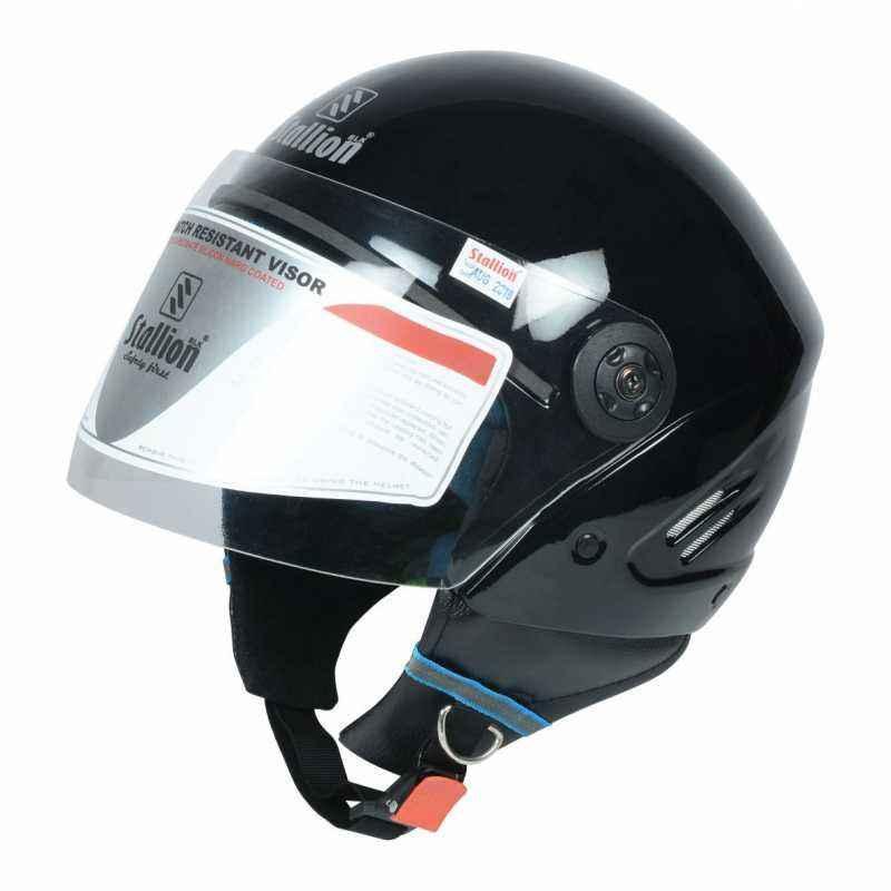 Stallion BLK K10 Open Face Black Motorbike Helmet, Size: M
