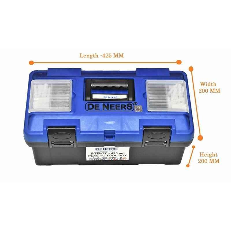 De Neers PTBO14 Plastic Tools Box with Organizer, Size: 175x175x350 mm