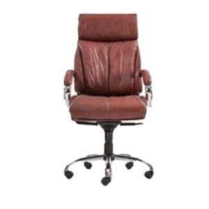 Master Labs Leather Adjustable Black Push Back Revolving Chair with Fixed Arms, MLF-183