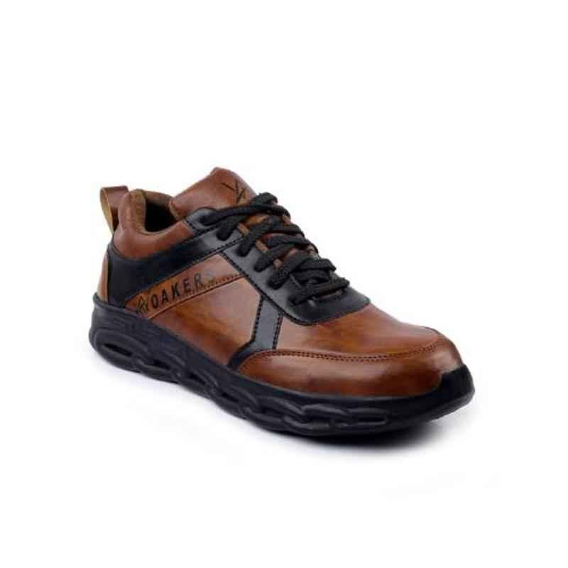 Woakers Synthetic Leather Steel Toe PVC Sole Brown Safety Shoes, Size: 9