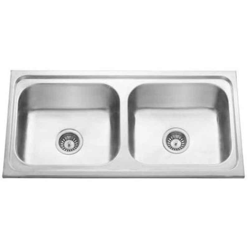 Crocodile 37x18x8 inch Glossy Finish Stainless Steel Double Bowl Kitchen Sink