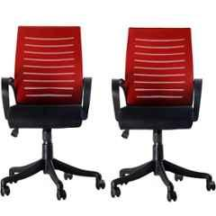 Regent Boom Net & Metal Black & Red Chair with Modle Handle (Pack of 2)