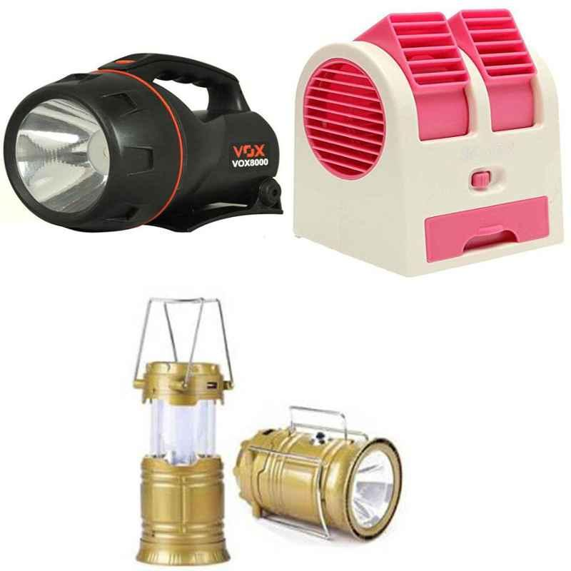Combo of Homepro LED Solar Emergency Lantern with Homepro Mini Portable Air Cooler & VOX VOX8000 5W Flashlight Torch