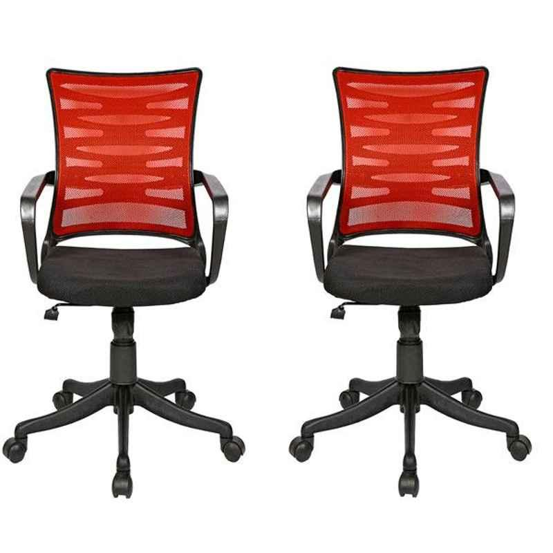 Regent Zig Zag Net & Metal Black Red Chair with Modle Handle (Pack of 2)