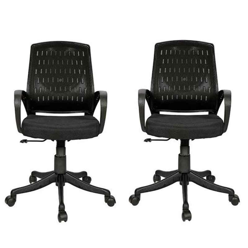 Regent Smart Net & Metal Black Chair with Modle Handle (Pack of 2)